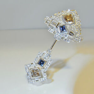 Art Deco Champagne Diamond Platinum Brooch Ceylon Sapphire Pin Wedding 1920s 30s