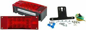 Submersible Trailer Rectangle LED Light Kit,Stop Turn Tail and License,Red White