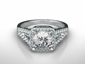 DESIGN 3.50 CARAT E SI1 PRINCESS SHAPE 18 KARAT WHITE GOLD SPLIT RING NEW