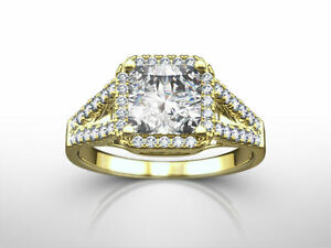 DESIGN 3.00 CARAT E VS1 PRINCESS SHAPE 14 KARAT YELLOW GOLD SPLIT RING NEW