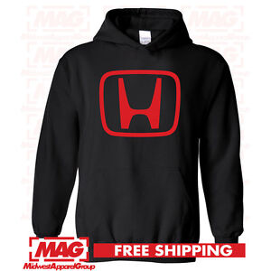 HONDA LOGO IN RED HOODIE BLACK Racing Motocross Hooded Sweatshirt CBR Moto $29.99