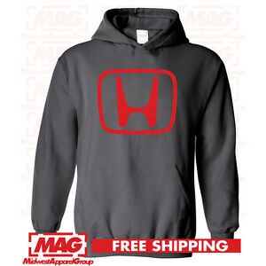 HONDA LOGO IN RED HOODIE CHARCOAL Racing Motocross Hooded Sweatshirt Goldwing $32.99