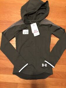 Under Armour Girls Green Coldgear Reflective Popover  Hoodie Size  Xs NWT