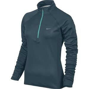 Nike Women's Element  Dri-FIT Thermal Half-Zip Running Shirt- Space Blue-X-Sm...