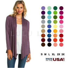 Women Solid Long Sleeve Cardigan Open Front Shawl Sweater Wrap Top PLUS USA S-3X