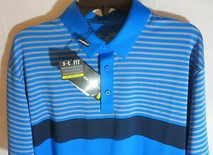 Men's UNDER ARMOUR XXL 2XL Coldblack Stripe Polo Blue Jet Golf Shirt 1253472