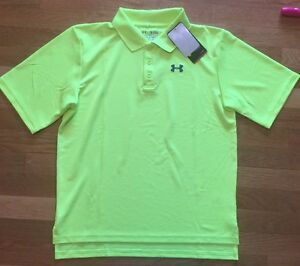 Under Armour Golf boys heat gear loose fit neon  polo shirt size YXL. NWT!
