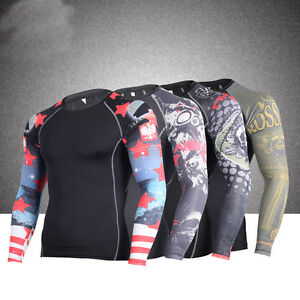 Men Compression Tights Long sleeve Quick-dry Fitness T-shirt Running Sports Tops
