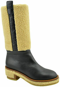 CHANEL Black Calf Leather FUR Biker Riding Knee High Boots Shoes LIMITED EDITION