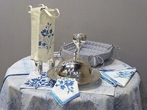 Tropicales - Beautiful French blue table cloths set - 17 pieces