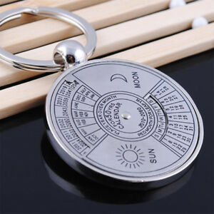 Unique Alloy Silver Creative From 50 Years Keychain Keyring Perpetual Calendar