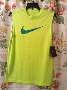 NIKE DRI-FIT BOYS SIZE MEDIUM SLEEVELESS NEON GREEN 100% POLYESTER SHIRT NWT