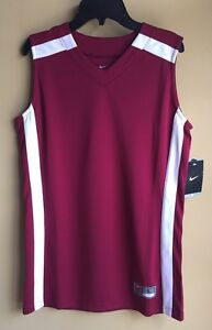 NWT BOY'S NIKE DRI FIt TRAINING SLEEVELESS SHIRT MAROONWHITE SMALL NWT $40