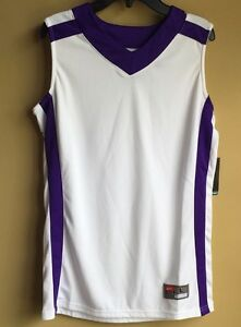 NWT BOY'S NIKE DRI FIt TRAINING SLEEVELESS SHIRT WHITEPURPLE  LARGE NWT $40