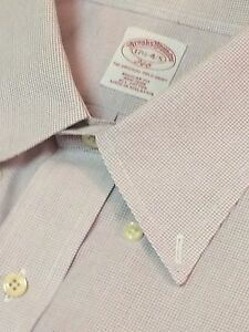 BROOKS BROTHERS Mens Dress Sport Shirt Cotton 17.5 35 Lavender Gingham Check