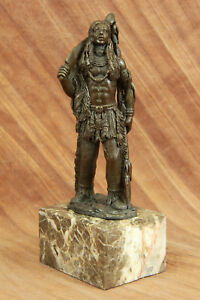 Native American Sitting Bull Indian Chief Mohican Bronze Marble Statue Gift DB