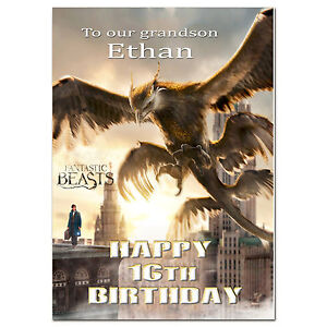 g390; Large Personalised Birthday card; for any name and age; Fantastic Beasts