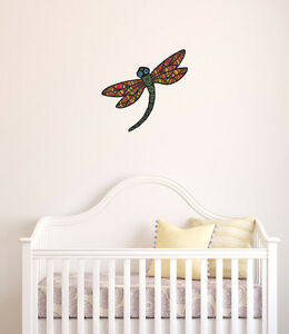 CLR:FLAT - Patterned Dragonfly - Vinyl Wall Decal ©YYDC (9.5