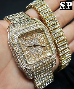 Men's Hip Hop Iced Out Bling Simulated Diamond Luxury WATCH & BRACELET Gift Set