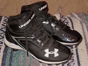 UNDER ARMOUR Lace-Up High Top Baseball Cleats Shoes Youth Boy's 3Y