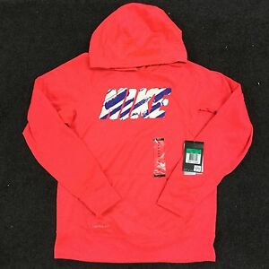 Nike Girl's Youth Therma Fit Pullover Kangaroo Pocket LS Hoodie 618051 Pink XL
