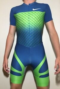 USED Mens Nike Track and Field Singlet Medium Running Green Fish Suit Dri Fit M