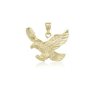 14K Solid Yellow Gold Eagle Pendant Flying Bird Dia Cut Necklace Charm Men Women