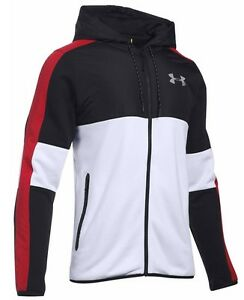 UNDER ARMOUR UA PURSUIT HOODIE FULL ZIP INSULATED MENS BLACK  WHITE  RED