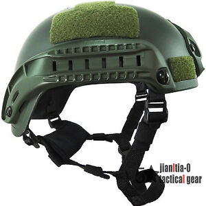 Green MICH2001 Helmet Simplified Action Type 0.7 Kg Airsoft Shroud Side Rail