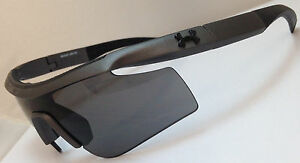 Under Armour Dynamo Wrap Youth Sunglasses Satin Carbon Frame Gray Lens 60 mm
