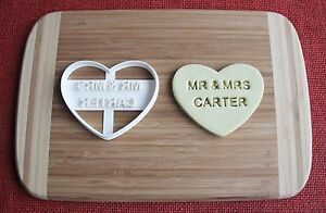 Custom Mr and Mrs Wedding Cookie Cutter Engagement Biscuit Stamp Cake Topper