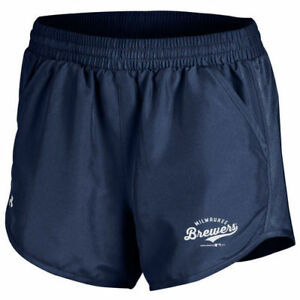 Under Armour Milwaukee Brewers Women's Navy Fly By Running Shorts