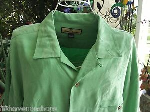 Tommy Bahama Men Camp Shirt Large RELAX FIT L Bright Green Leaves Silk DRY CLEAN