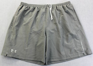 UNDER ARMOUR  LOGO Mens GRAY MESH LINED Drawstring FITTED RUNNING SHORTS NWT 2XL