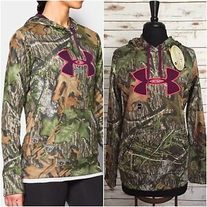 UNDER ARMOUR Mossy Oak Women's CAMO STORM Pullover Hoodie Size M