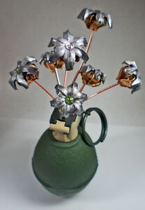 Bullets and Grenade Flower Vase Birthstone Bouquet Expanded Bullet Flowers