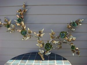 MID CENTURY WALL ART BRONZE CERAMIC SCULPTURE PAIR FLOWER SIGNED AIRCO