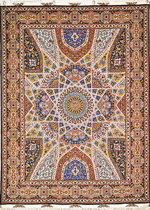 Royal Gonbad Persian HandWoven  Rug with Geometric design Silk base