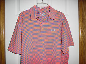 NWT Men's Size 2XL Loose Fit Under Armour Golf Polo Shirt Stripe Heatgear $69.99