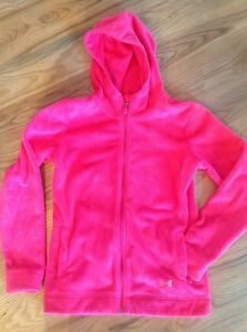 GIRLS UNDER ARMOUR STORM HOT PINK FLEECE FULL ZIP HOODIE JACKET SIZE YOUTH L