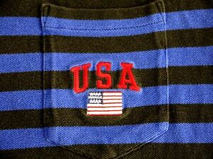 VINTAGE 90s POLO SPORT Ralph Lauren mens striped polo shirt L USA spellout flag