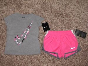 GIRLS 2T NIKE SHIRT TEMPO RUNNING SHORTS SET OUTFIT