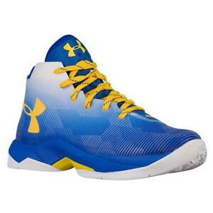 UNDER ARMOUR UA Kids Boys Curry 2.5 Basketball Shoes Sneakers Royal Blue White