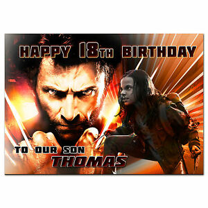g394; Large Personalised Birthday card; any name; Logan Wolverine and Laura x-23