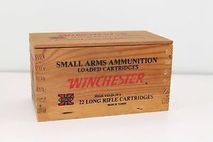 Vintage Slide Top Winchester 22 Long Rifle Cartridges 500 Ammo Box Only