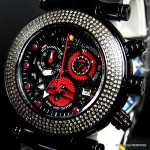 Invicta Reserve Subaqua Noma I 47mm Diamond Ruby Black Steel Skeleton Watch New
