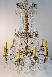 Antique Bronze Crystal & Carved Wood Chandelier circa 1910  Versailles style