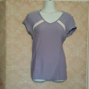 Nike Women's Size S Fit Dry White & Purple Athletic Work Out Tank Top Shirt Yoga