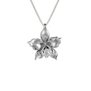 Cattleya Orchid Hawaiian Jewelry Pendant Necklace Rhodium Sterling Silver 925