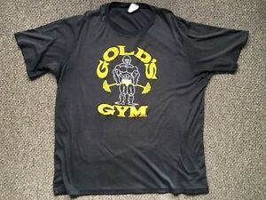 VTG GOLDS GYM T-SHIRT - 1980'S VENICE BEACH - BLACK LARGE  5050 THIN TOWNSVILLE